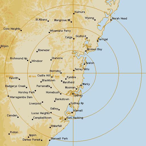 Sydney Terrey Hills 64km Weather Radar Forecast IDR714